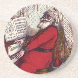 ヴィンテージのクリスマス、サンタクロースのビクトリアンなピアノ コースター