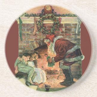 ヴィンテージのクリスマス、サンタクロースのビクトリアンな子供 コースター