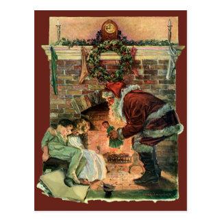 ヴィンテージのクリスマス、サンタクロースのビクトリアンな子供 ポストカード