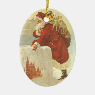 ヴィンテージのクリスマス、サンタクロースのビクトリアンな煙突 セラミックオーナメント