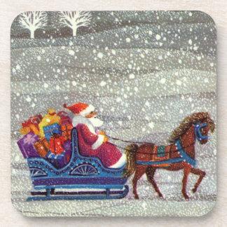 ヴィンテージのクリスマス、サンタクロースの馬の開いたそり コースター