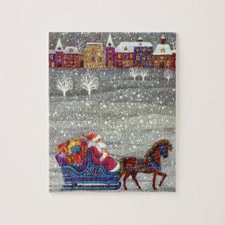 ヴィンテージのクリスマス、サンタクロースの馬の開いたそり ジグソーパズル