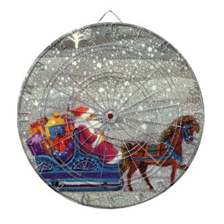 ヴィンテージのクリスマス、サンタクロースの馬の開いたそり ダーツボード