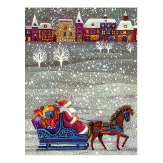 ヴィンテージのクリスマス、サンタクロースの馬の開いたそり ポストカード