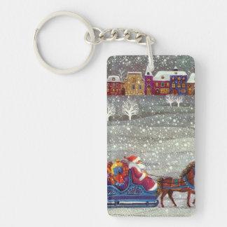 ヴィンテージのクリスマス、サンタクロースの馬の開いたそり 長方形(両面)アクリル製キーホルダー
