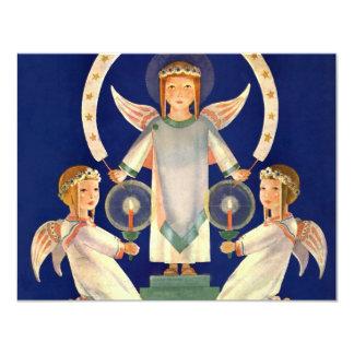 ヴィンテージのクリスマス、サンタルシアの天使の招待状 カード