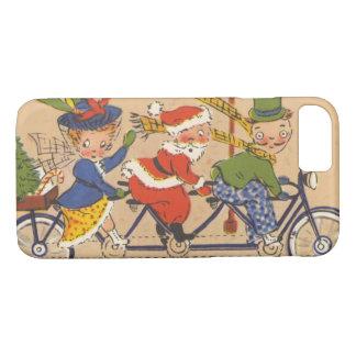 ヴィンテージのクリスマス、バイクのビクトリアンなサンタクロース iPhone 8/7ケース