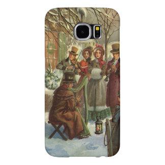 ヴィンテージのクリスマス、ビクトリアンなミュージシャンの演劇音楽 SAMSUNG GALAXY S6 ケース