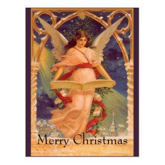 ヴィンテージのクリスマス、ビクトリアンな天使の読書聖書 ポストカード
