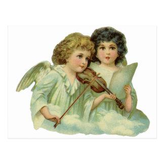 ヴィンテージのクリスマス、ビクトリアンな天使音楽バイオリン ポストカード