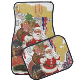ヴィンテージのクリスマス、プレゼントを持つすてきなサンタクロース カーマット