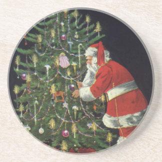 ヴィンテージのクリスマス、プレゼントを持つサンタクロース コースター