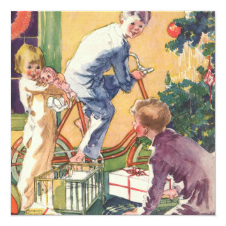 ヴィンテージのクリスマス、プレゼントを持つヴィンテージの子供 カード