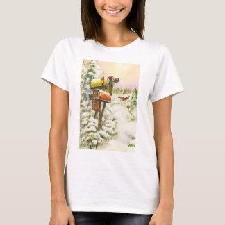ヴィンテージのクリスマス、冬の景色のポスト Tシャツ