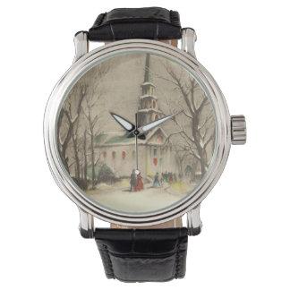 ヴィンテージのクリスマス、冬Snowscapeの教会 腕時計