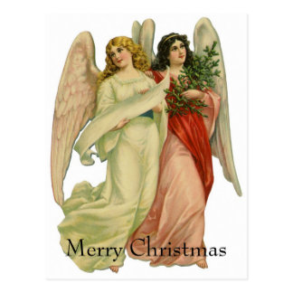 ヴィンテージのクリスマス、型抜きされる旧式でビクトリアンな天使 ポストカード