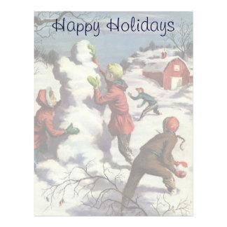 ヴィンテージのクリスマス、子供の雪玉の戦い レターヘッド