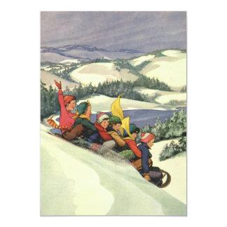 ヴィンテージのクリスマス、招待状をSledding子供 カード