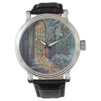 ヴィンテージのクリスマス、教会のステンドグラス窓 腕時計