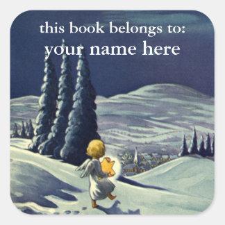 ヴィンテージのクリスマス、星との雪の天使の歩く スクエアシール