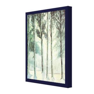 ヴィンテージのクリスマス、曇らされた森林 キャンバスプリント