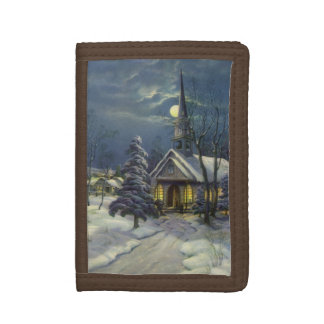 ヴィンテージのクリスマス、月が付いている雪の冬教会 ナイロン三つ折りウォレット