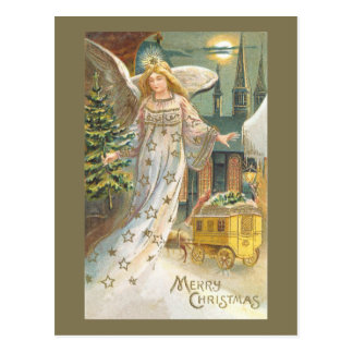 ヴィンテージのクリスマス、木とのビクトリアンな天使 ポストカード