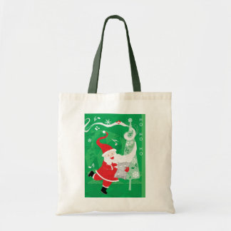 ヴィンテージのクリスマス、歌い、踊っているサンタクロース トートバッグ