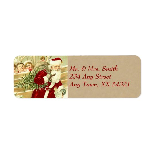 ヴィンテージのクリスマス 返信用宛名ラベル
