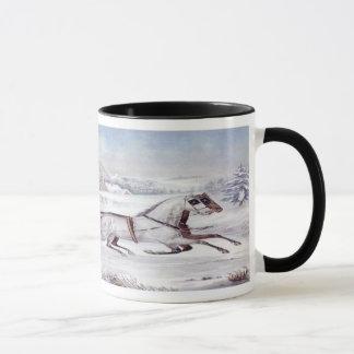 ヴィンテージのクリスマス、道の冬、そりの馬 マグカップ