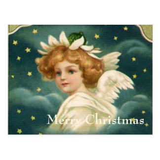 ヴィンテージのクリスマス、金ゴールドの星とのビクトリアンな天使 ポストカード