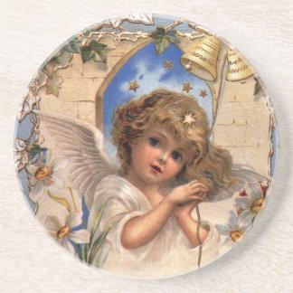 ヴィンテージのクリスマス、金ゴールド鐘のビクトリアンな天使 コースター