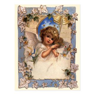 ヴィンテージのクリスマス、金ゴールド鐘のビクトリアンな天使 ポストカード