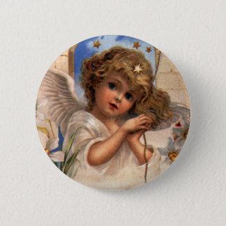 ヴィンテージのクリスマス、金ゴールド鐘のビクトリアンな天使 5.7CM 丸型バッジ