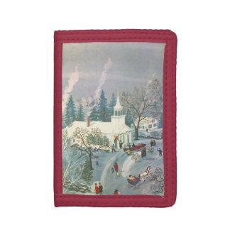 ヴィンテージのクリスマス、雪の教会に行っている人々 ナイロン三つ折りウォレット