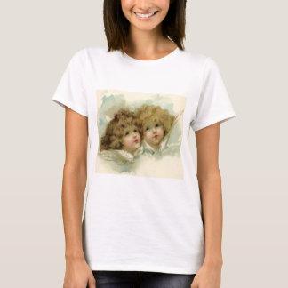 ヴィンテージのクリスマス、雲のビクトリアンな天使 Tシャツ