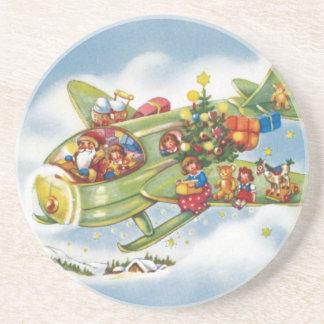 ヴィンテージのクリスマス、飛行機を飛ばしているサンタクロース コースター