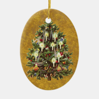 ヴィンテージのクリスマス、飾られたビクトリアンな木 セラミックオーナメント