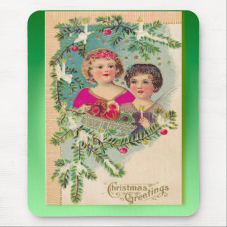 ヴィンテージのクリスマス、2人の女の子および木 マウスパッド