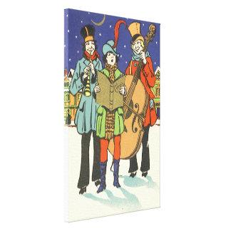 ヴィンテージのクリスマス、Caroling音楽のミュージシャン キャンバスプリント