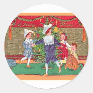 ヴィンテージのクリスマス、Edwardianの子供の踊ること ラウンドシール