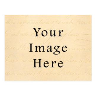 ヴィンテージのクリーム色ベージュ原稿の文字の硫酸紙 ポストカード