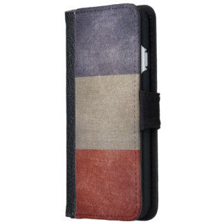 ヴィンテージのグランジでフランスのな旗 iPhone 6/6S ウォレットケース