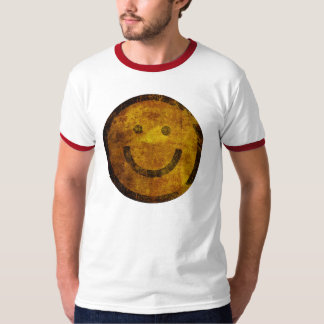 ヴィンテージのグランジで幸せなスマイリーフェイスのTシャツ Tシャツ