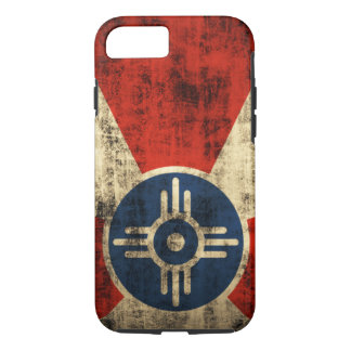 ヴィンテージのグランジなウィチタカンザスの旗 iPhone 8/7ケース