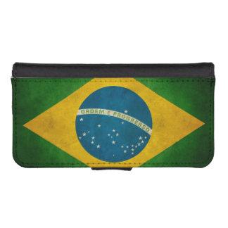 ヴィンテージのグランジなブラジルの旗Bandeiraはブラジルをします iPhoneSE/5/5sウォレットケース