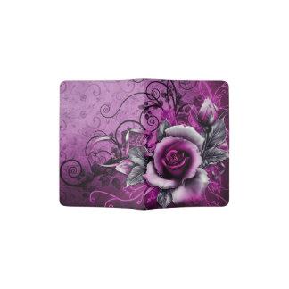 ヴィンテージのグランジな紫色のバラのベクトル渦巻の芸術 パスポートカバー