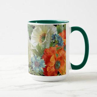 ヴィンテージのケシおよびヤグルマギクの花柄のマグ マグカップ