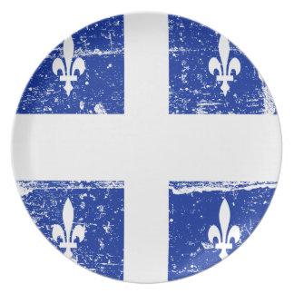 ヴィンテージのケベックの地方の旗のプレート プレート