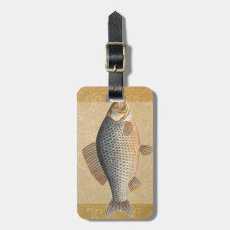 ヴィンテージのコイの淡水魚のスケッチ ラゲッジタグ